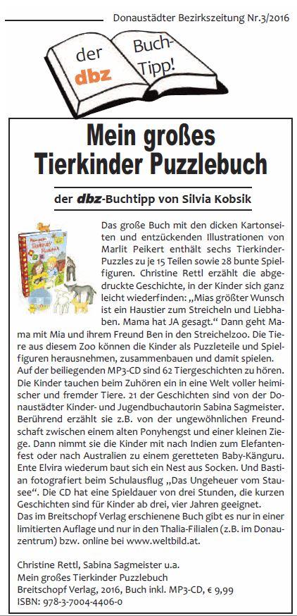 dbz Buchtipp 3-2016: Tierkinder Puzzlebuch