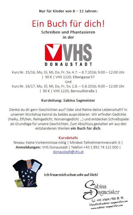 Sagmeister VHS-Sommerkurs Flyer 2016